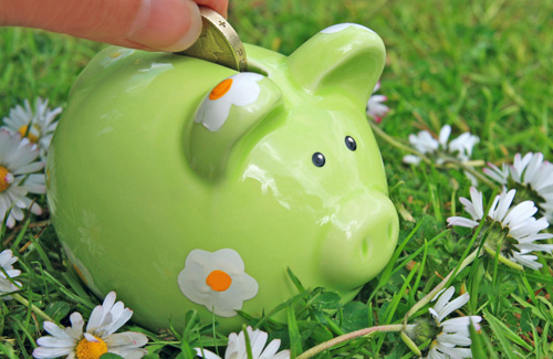 money saving piggy-bank-green