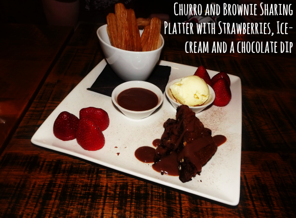 chiquito cribbs causeway bristol restaurant review dessert churro and brownie sharing platter with strawberries ice-cream and chocolate dip
