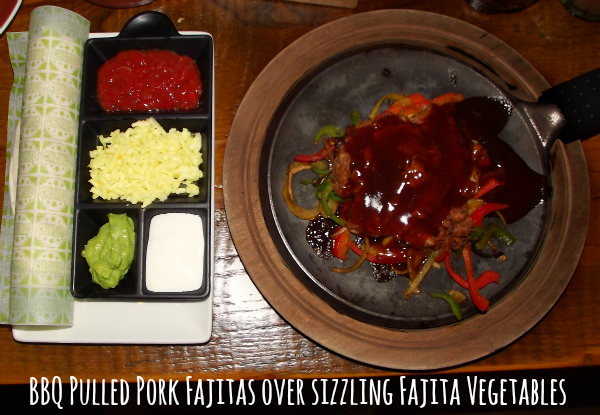 chiquito cribbs causeway bristol restaurant review main meals bbq pulled pork fajitas over sizzling fajita vegetables