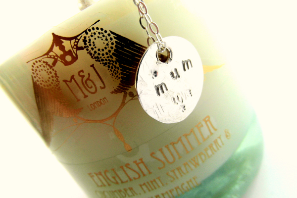 mother's day competition with M&J London and La Jewellery candle and necklace