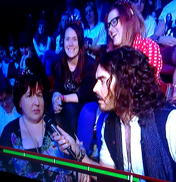 Team Honk chatting to Russell Brand