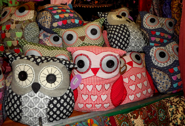 Silent Sunday Owl cushions Sass and Belle Bath Market