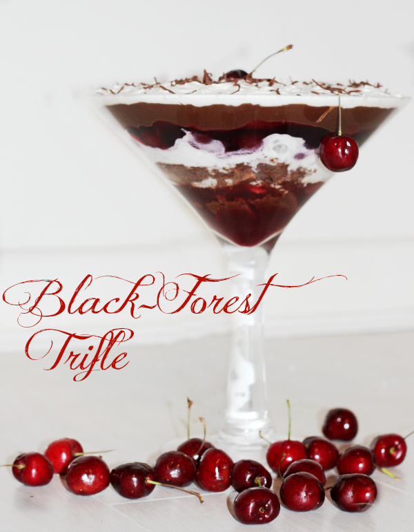 black forest trifle chocolate and cherry trifle