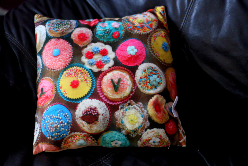 Debenhams Secret Santa cupcake cushion