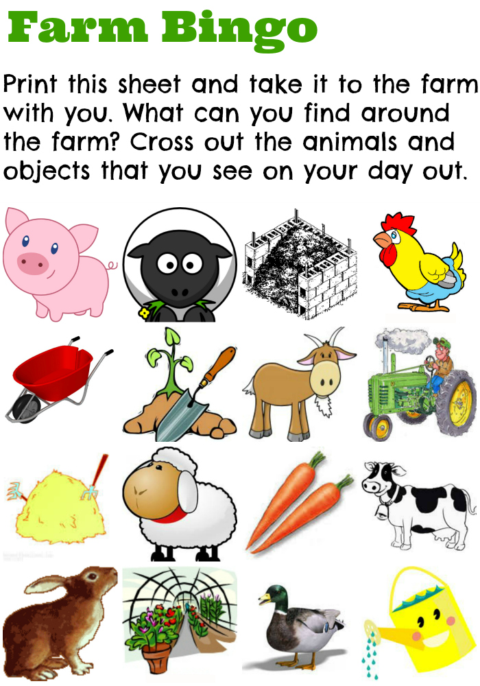 Farm Bingo Activity Sheet - learning about farms