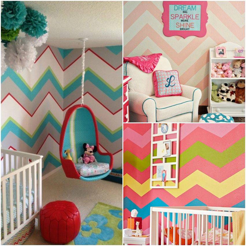 nursery with chevron wall, chevron wall for nursery