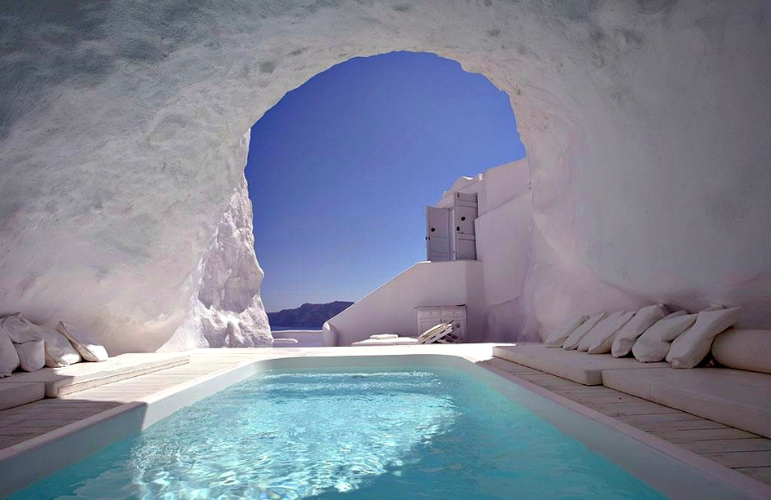 high archways and openplan living that lets the outside in santorini style