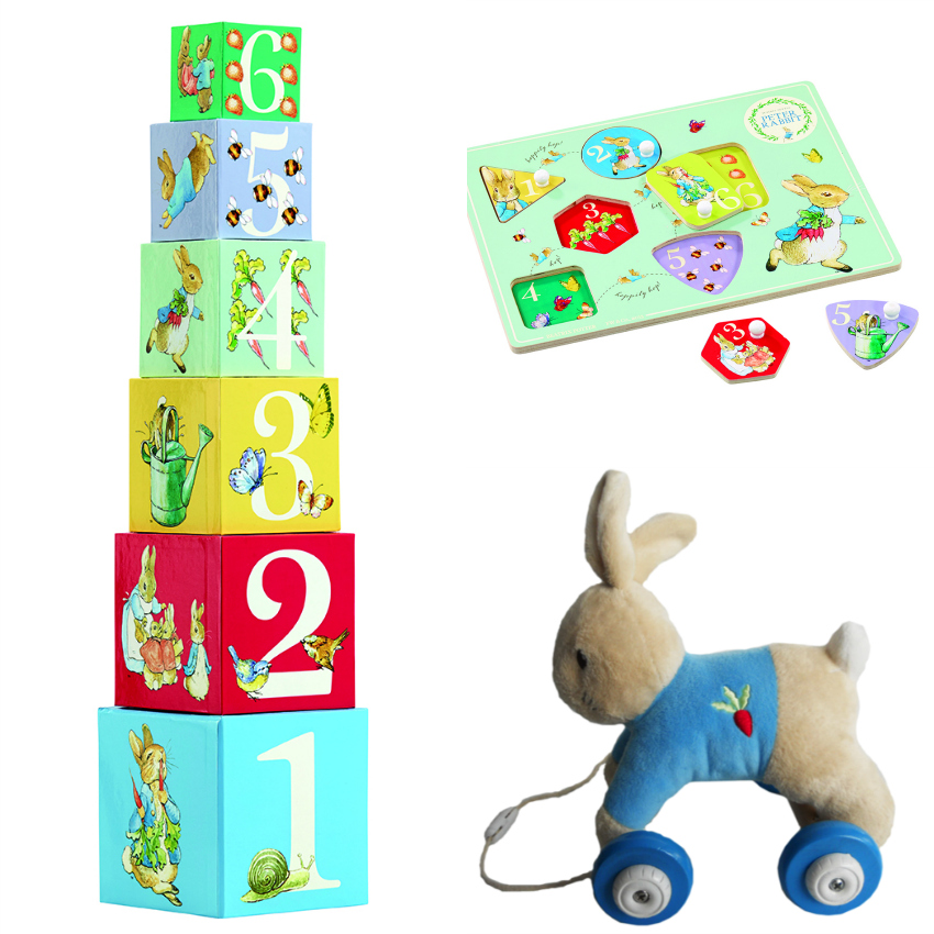 Peter Rabbit toddler bundle with Peter Rabbit stacking blocks, Peter Rabbit peg puzzle and Peter Rabbit pull a long