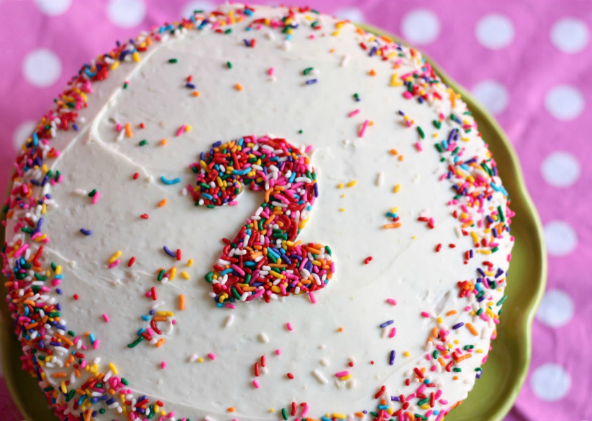 birthday cake with sprinkles as number