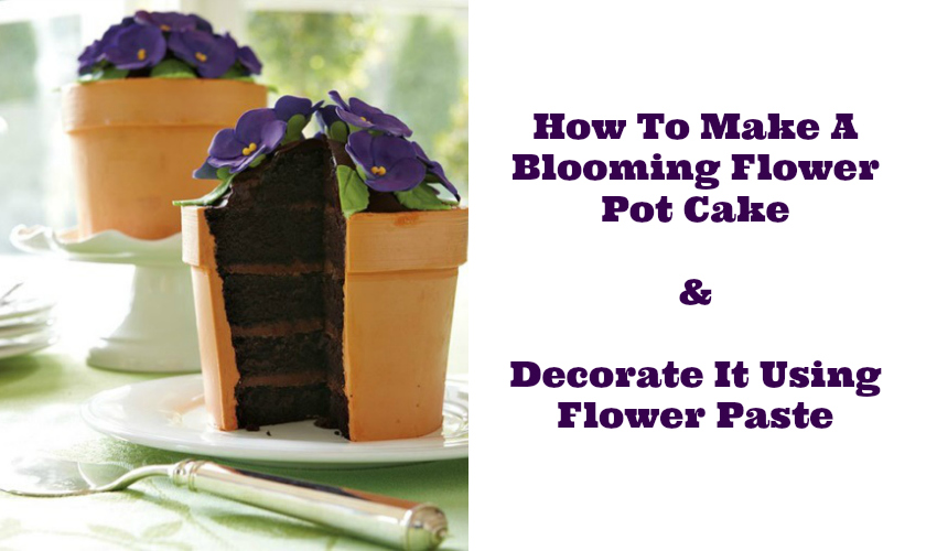 How To Make A Blooming Flower Pot Cake And Decorate It Using Flower Paste