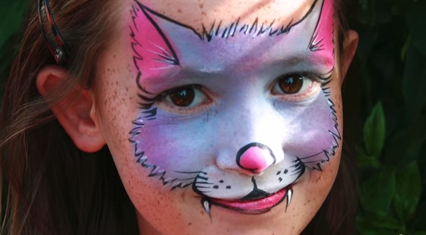 cute kitty cat face-painting for halloween