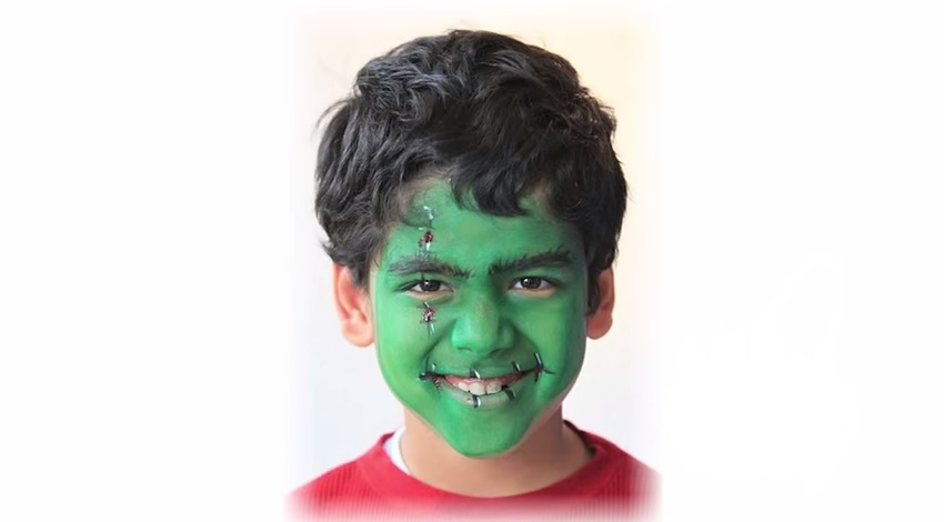 frankenstein face-painting