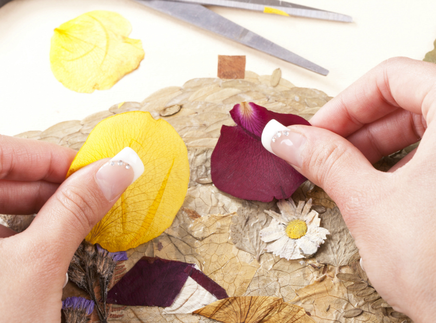 natural art supplies like leaves and petals