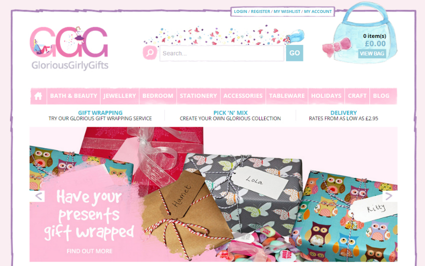 glorious girly gifts - online shop for girly gifts, gift ideas for girls