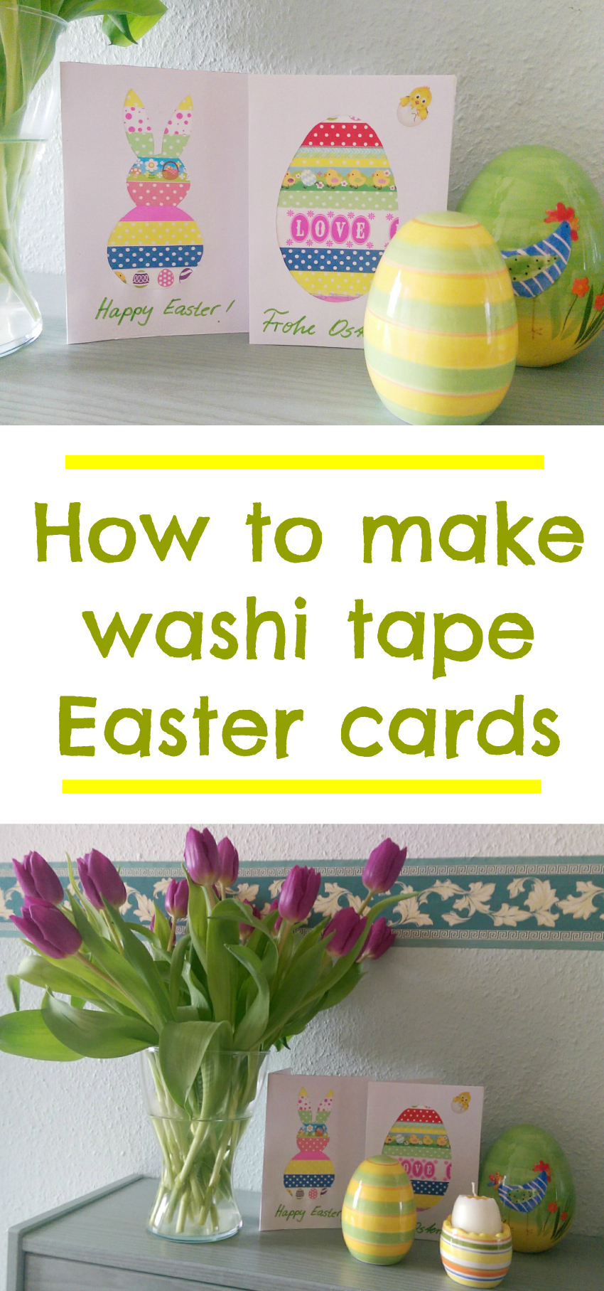 how to make washi tape Easter cards, simple Easter cards, Easter crafts