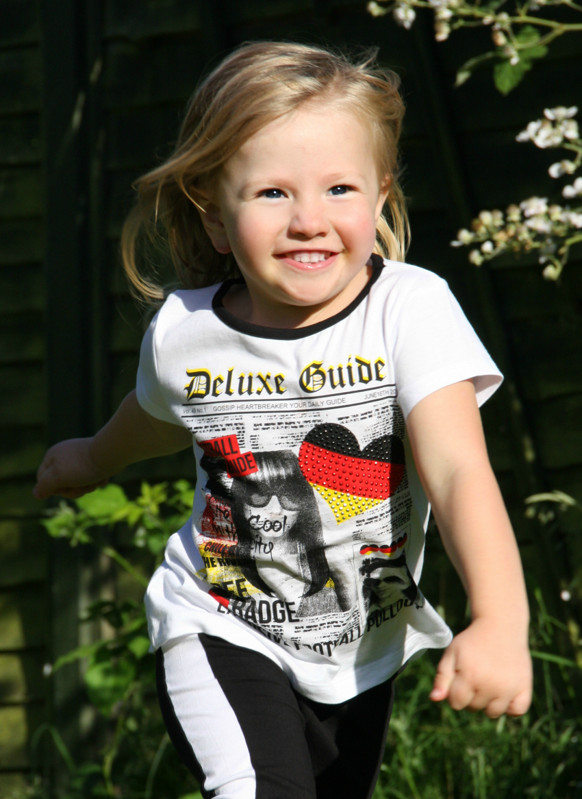Amy loves the football World Cup in her Germany shirt