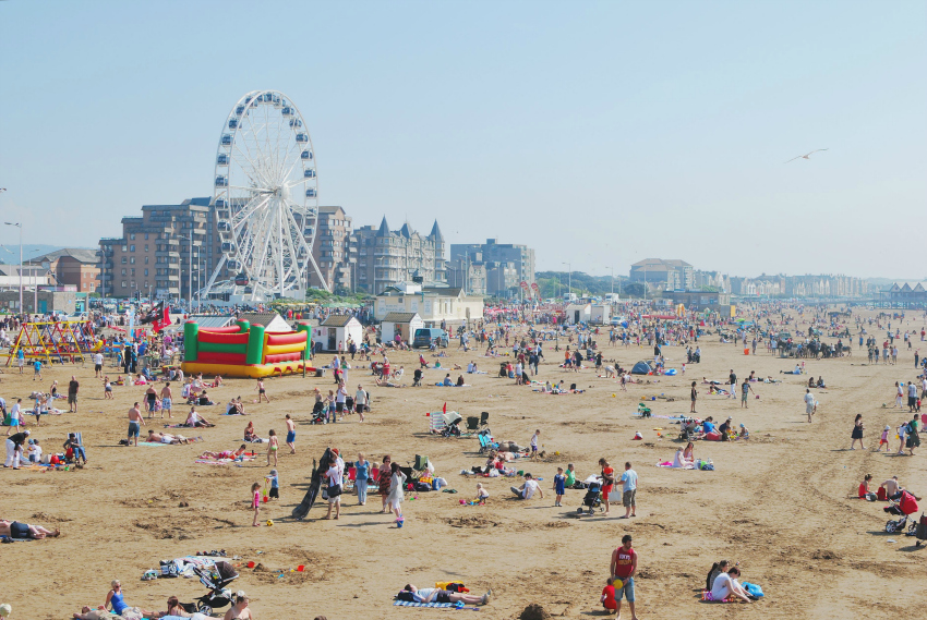 Weston-super-Mare_beach_from_the_Pier, best beaches in the south west, somerset