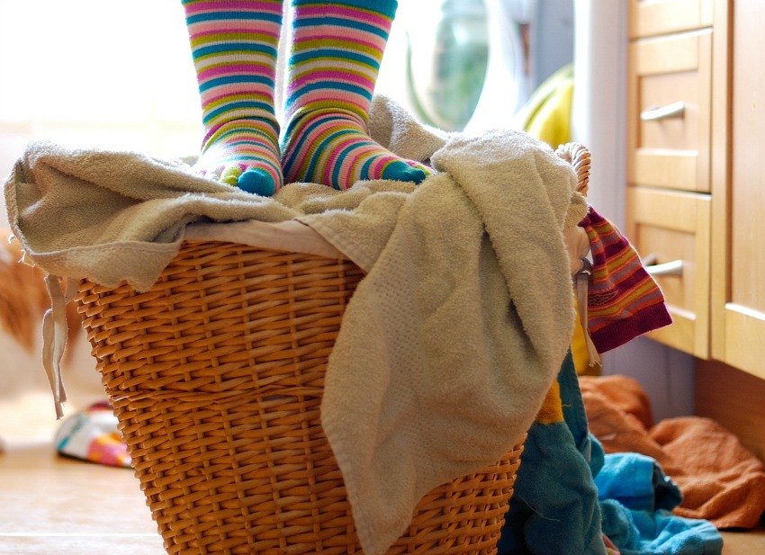 laundry hacks, sorting your laundry, laundry hampers in bedrooms