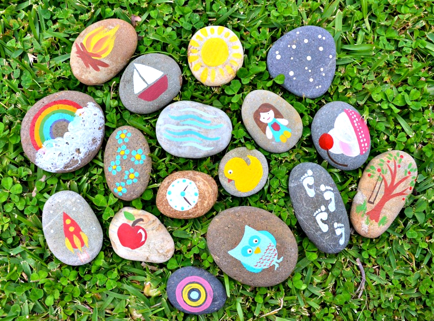 how to make your own story stones, nature crafts for summer