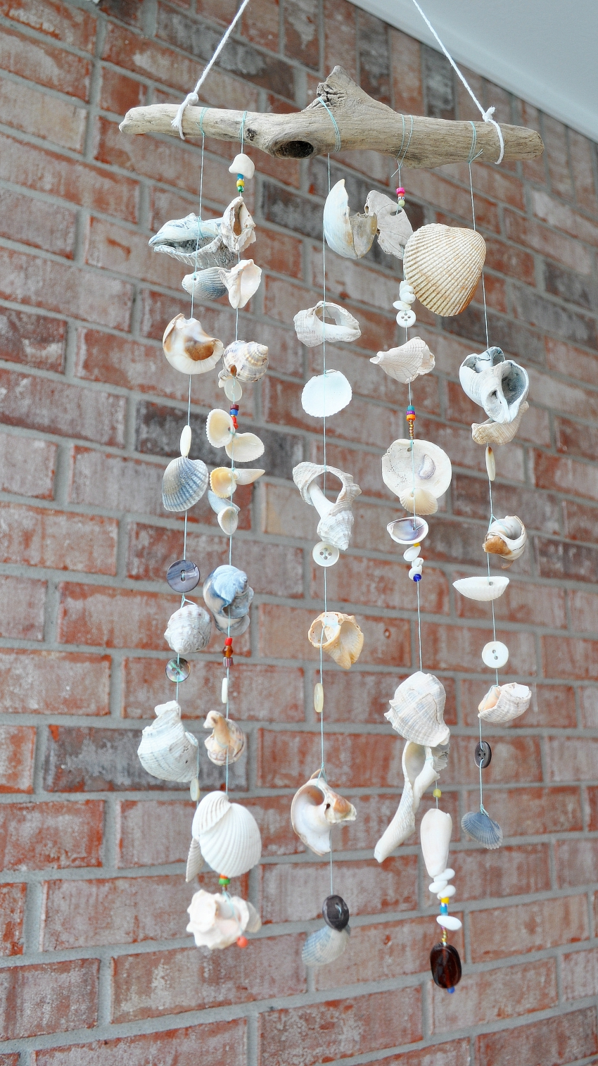 sea shell wind chime, nature crafts for summer, sea shell mobile