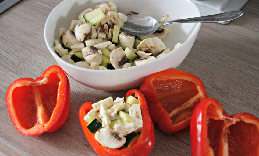 vegetarian stuffed peppers, almased-friendly recipe