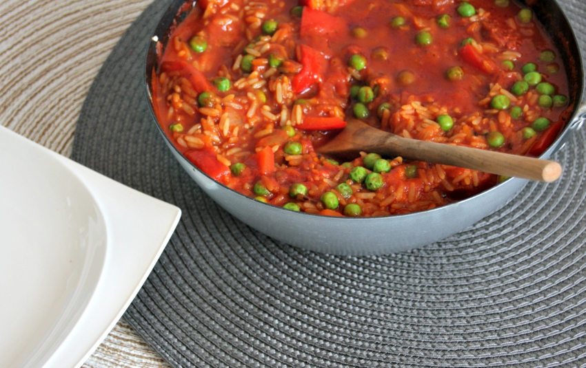 chorizo rice pot, quick and easy one pot dishes