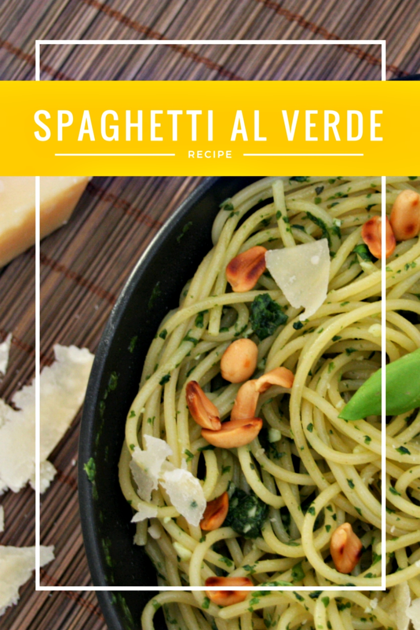 spaghetti al verde recipe, pasta recipe with homemade basil pesto