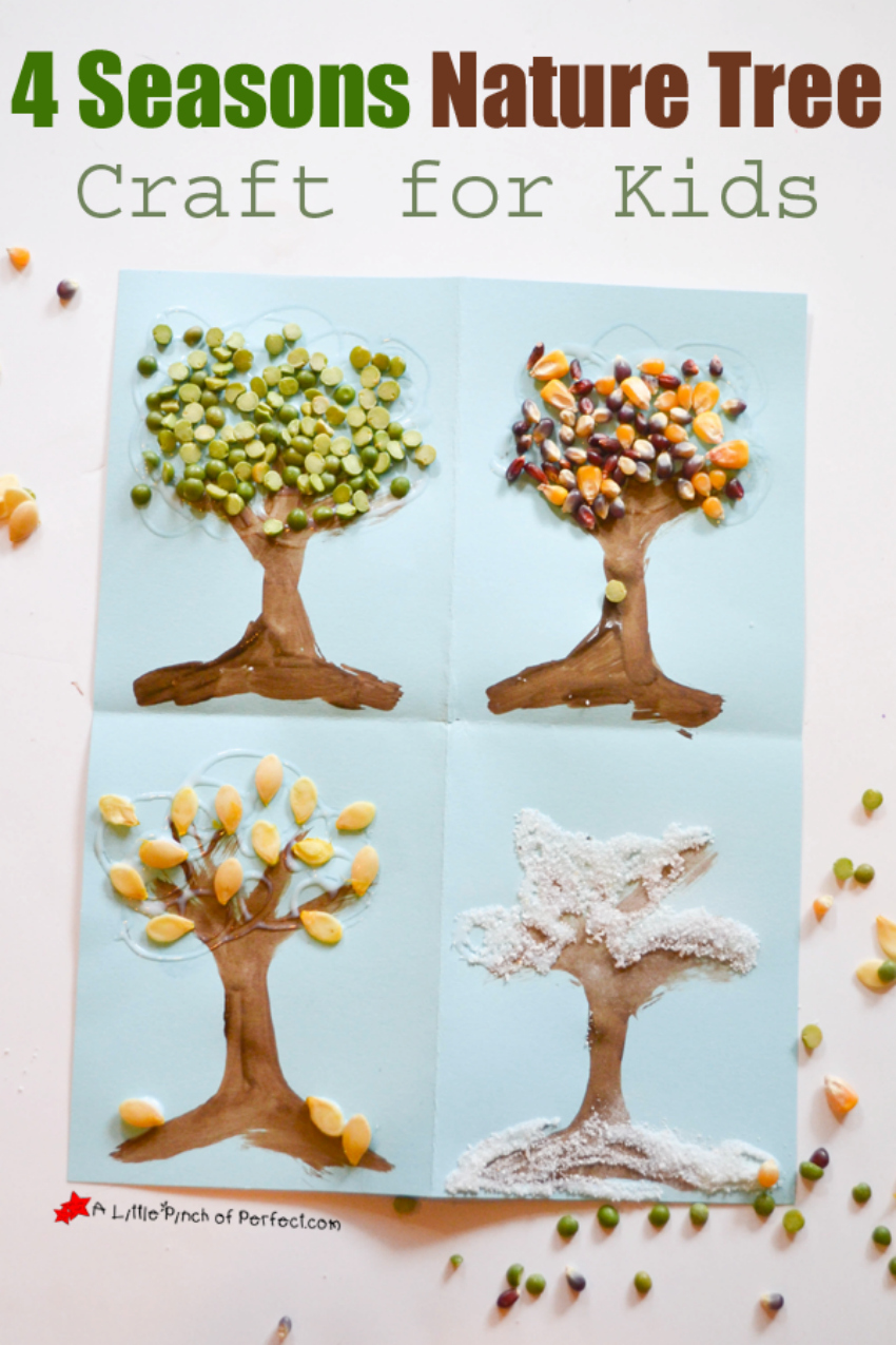 4 Seasons Nature Tree Art_A Little Pinch of Perfect 7, nature crafts, seasonal crafts, parenting pin it party
