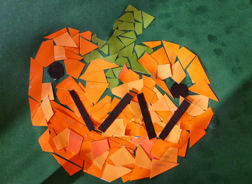 pumpkin crafts for halloween, craft ideas for halloween, pumpkin mosaic