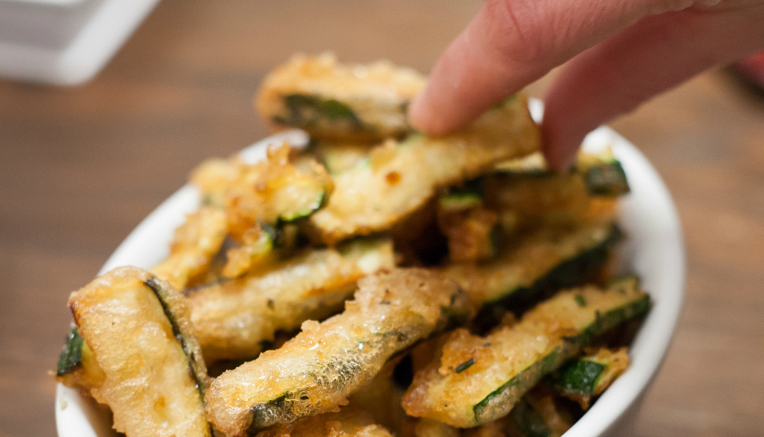 courgette chips, deep fried courgette chips, posh side dishes