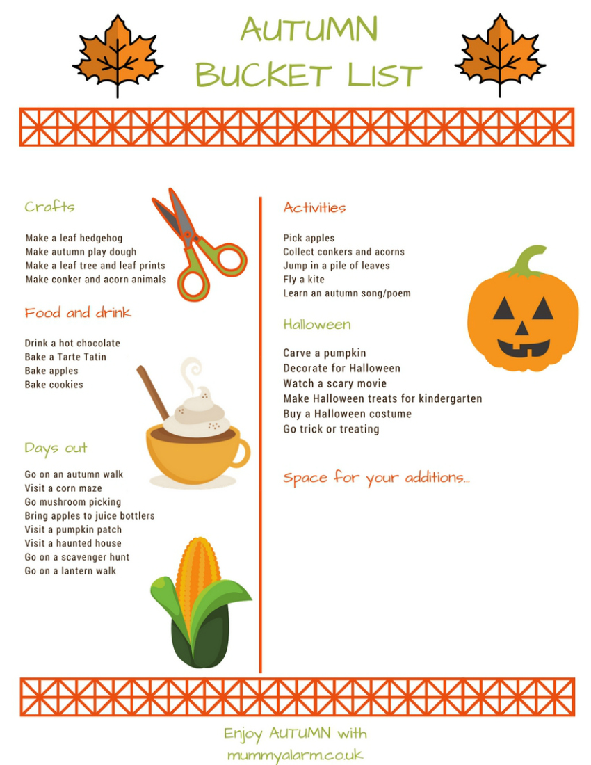 autumn bucket list with autumn activities for kids