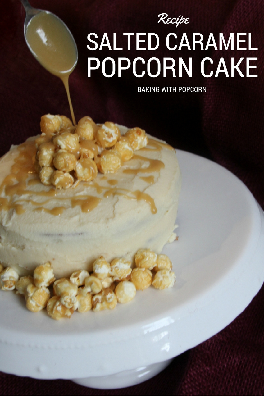 salted caramel popcorn cake, baking with butterkist popcorn