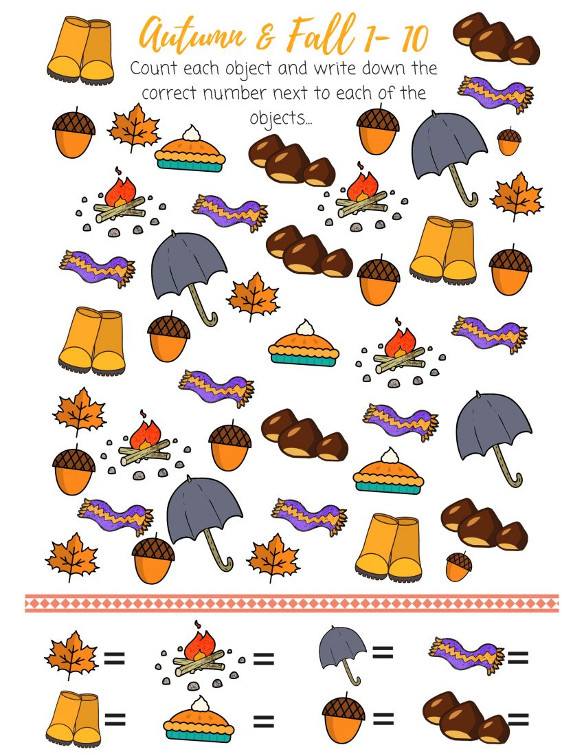 autumn counting activity, number from 1 to 10 counting printable, counting from 1 to 10, printable counting, fall counting activity